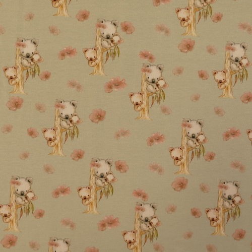 "Jersey de coton ""koala et roses"" fond vert tendre GOTS (10cm/1.55€)"