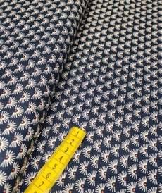 Tissu coton imprimé soleil fond marine (10cm/0.9€)