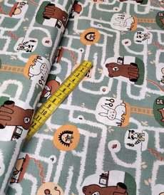 """Tissu coton imprimé """"labyrinthe des animaux"""" vert blanc (10cm/0.9€)"""