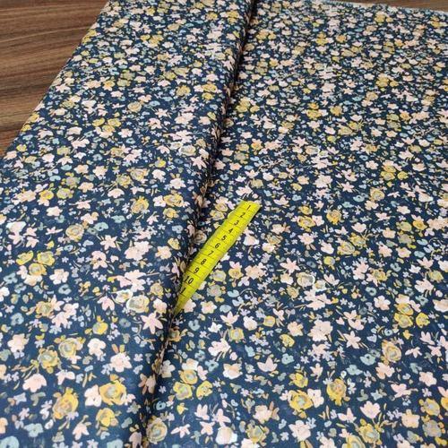 Tissu coton popeline imprimé fleuri romantique marine/rose (10cm/1.1€)