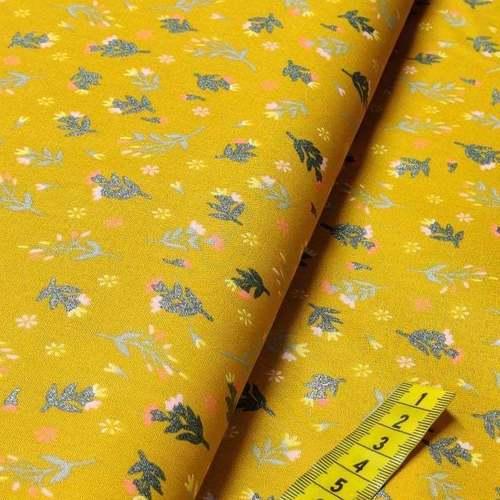 Tissu coton popeline imprimé petites fleurs à brillants ocre (10cm/1.0€)