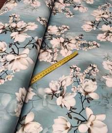 """Suédine fine extensible """"magnolia"""" bleu glacier ( 50cm/4.5€)"""