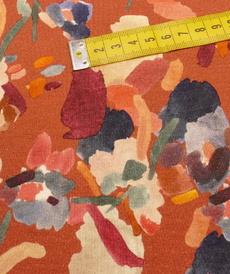 Jersey viscose imprimé DI fond terracotta ( 10cm/1.39€)