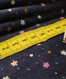Jersey nicky velours marine imprimé petites fleurs (10cm/ 1.67€)