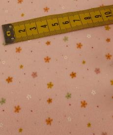 Jersey nicky velours rose imprimé petites fleurs (10cm/ 1.67€)