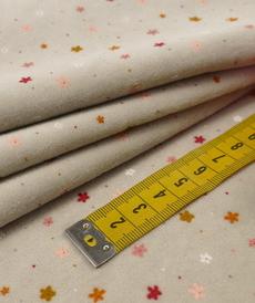 Jersey nicky velours gris imprimé petites fleurs (10cm/ 1.67€)