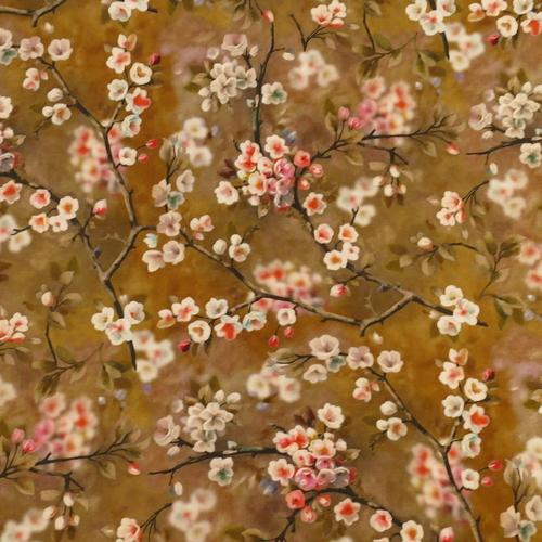 Tissu viscose imprimé fleuri japonisant kaki (10cm/1.1€)
