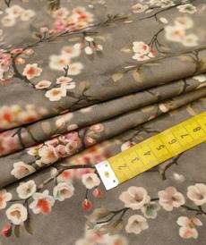 Tissu viscose imprimé fleuri japonisant gris (10cm/1.1€)
