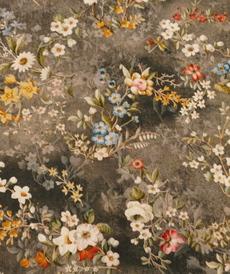 Tissu viscose imprimé Floral gris foncé (10cm/1.1€)