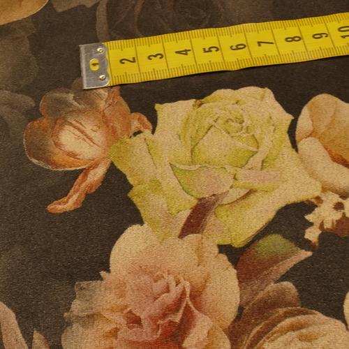 Scuba suédine extensible imprimé fleuri noir ( 10cm/1.35€)