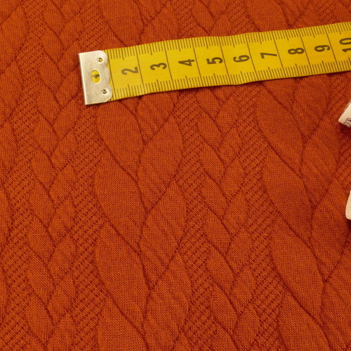 Maille jacquard torsadé brique (10cm/1.25€)