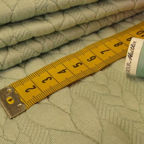 Maille jacquard torsadé vert tendre (10cm/1.25€)