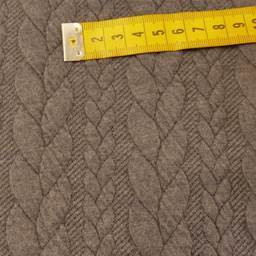 Maille jacquard torsadé bleu jeans (10cm/1.25€)