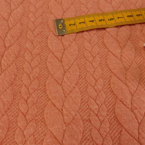 Maille jacquard torsadé corail (10cm/1.25€)