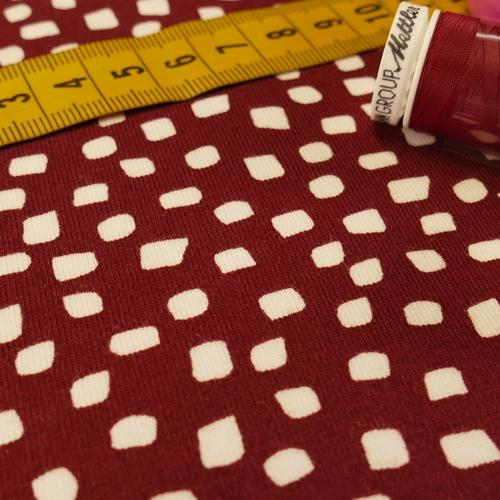 Jersey de coton GOTS bordeaux cubes blancs ( 10cm/1.49€)