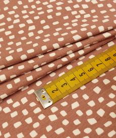 Jersey de coton GOTS bois de rose cubes blancs ( 10cm/1.49€)
