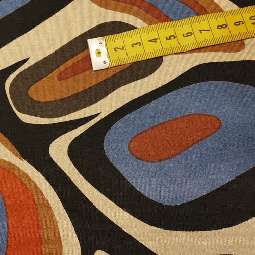 Jersey de viscose imprimé Année 60 multicouleur marron ( 10cm/1.2€)