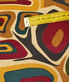 Jersey de viscose imprimé Année 60 multicouleur ocre ( 10cm/1.2€)