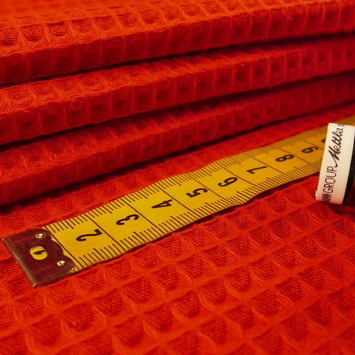 Tissu éponge nid d'abeilles coton rouge (1.15€/10cm)