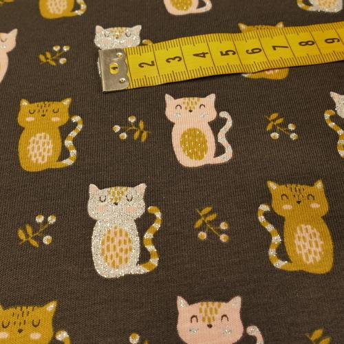 """Jersey de coton """"chats brillants"""" fond marron foncé (10cm/1.55€)"""