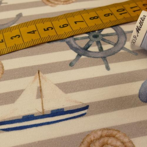 """Jersey de coton """"Marin"""" gris blanc GOTS (10cm/1.69€)"""