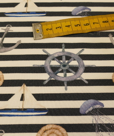 "Jersey de coton ""Marin"" marine blanc GOTS (10cm/1.69€)"