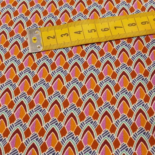 "Tissu fluide viscose ""playfull retro"" style arlequin rouge orangé (10cm/2.6€)"