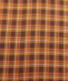 "Tissu fluide viscose ""happy check"" carreaux orange (10cm/1.8€)"