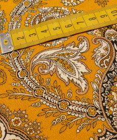 "Tissu fluide viscose ""ocre paisley"" imprimé baroque (10cm/2.6€)"