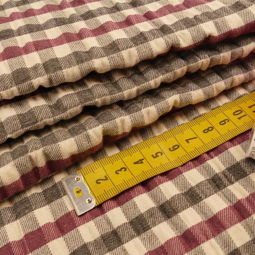 Tissu coton gaufré Seersucker Grey check prune ( 10cm/2.1€)