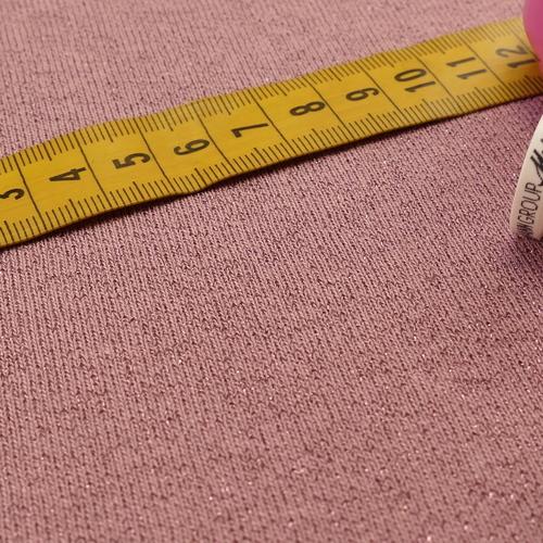 Jersey sweat molletonné lurex vieux rose Oeko-tex 100 (10cm/1.85€)
