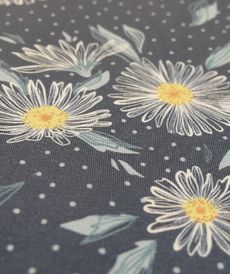 Jersey de coton fleuri bleu jeans Hilco