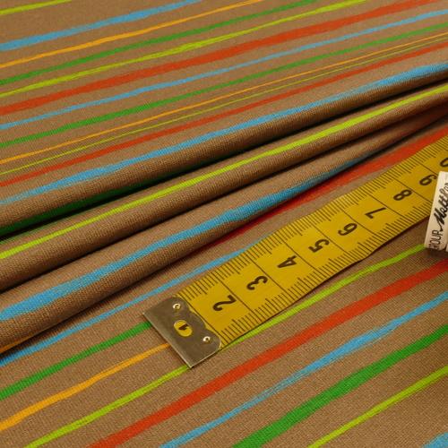 Jersey de coton taupe rayé by Stenzo (10cm/1.7€)