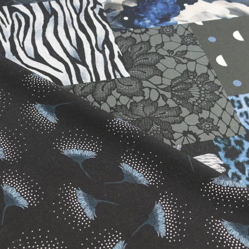 "Jersey de coton ""patchwork"" marine by Stenzo (10cm/1.7€)"