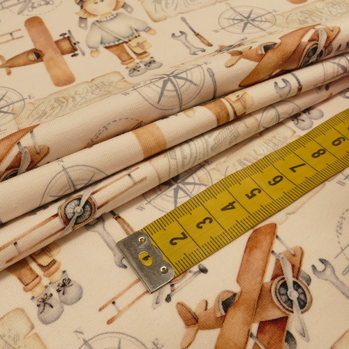 """Jersey de coton """"aviateur"""" beige/brique by Stenzo (10cm/1.7€)"""