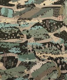 "Jersey sweat gratté GOTS ""camouflage"" gris/bleu (10cm/1.85€)"