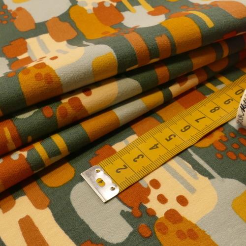 Jersey sweat gratté GOTS imprimé pétrole/ocre/brique(10cm/1.70€)