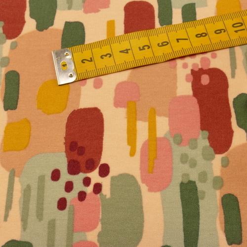 Jersey sweat gratté GOTS imprimé vieux rose/bordeaux/vert (10cm/1.70€)