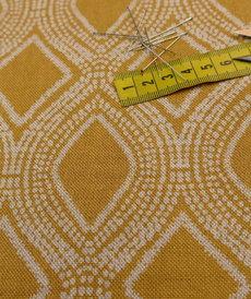 Coupon de Coton panama look lin Losanges ocre 2.5m