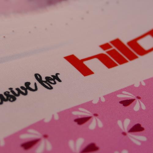Coton fuchsia imprimé mini coeurs Hilco (1.9€/10cm)