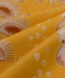 Jersey de coton jaune imprimé Koalas Hilco (2.10€/10cm)