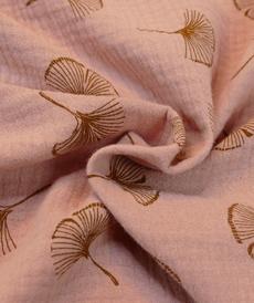 Double gaze vieux rose poudré motifs plumeaux