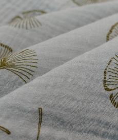 Double gaze gris motifs plumeaux (0.95€/10cm)