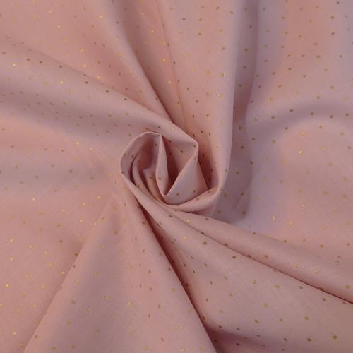 Voile de coton Bois de Rose à pois dorés Hilco