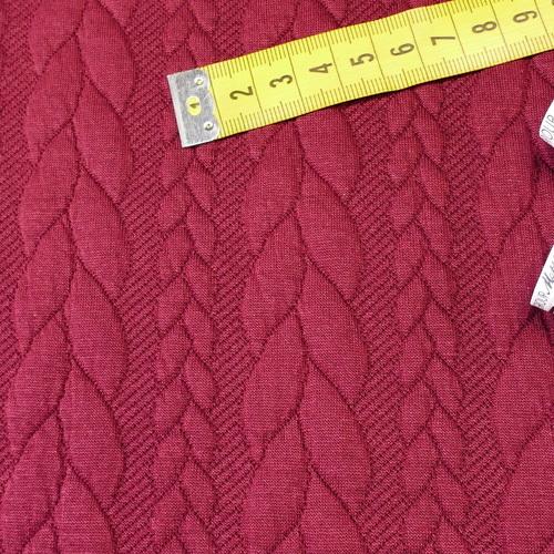 Maille jacquard torsadé Bordeaux (10cm/1.25€)