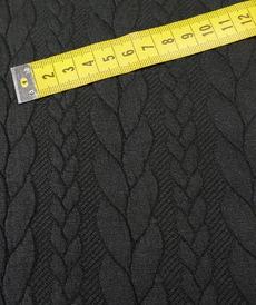 Maille jacquard torsadé Noir (10 cm/1.25€)