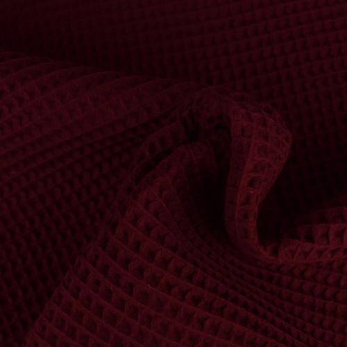 Tissu éponge nid d'abeilles coton bordeaux (1.15€/10cm)