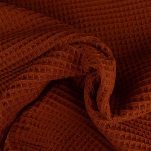 Tissu éponge nid d'abeilles coton brique