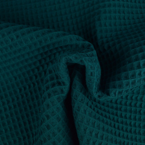 Tissu éponge nid d'abeilles coton pétrole (1.15€/10cm)