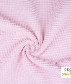Tissu éponge nid d'abeilles coton rose tendre